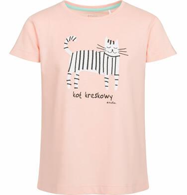 Endo - Bluzka z krótkim rękawem dla dziewczynki, kot kreskowy, brzoskwiniowa, 9-13 lat D03G554_2