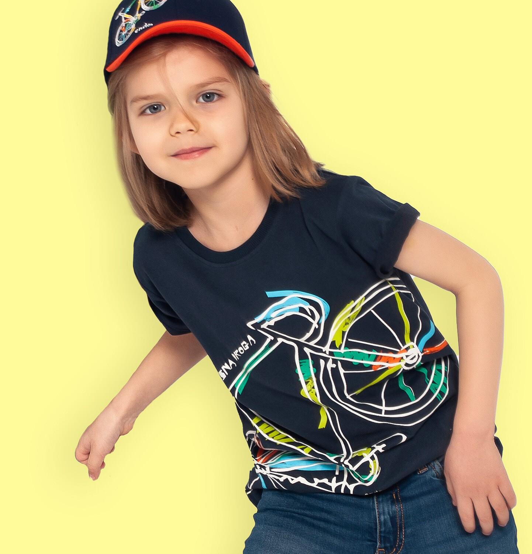 Endo - T-shirt z krótkim rękawem dla chłopca, z rowerem, granatowy, 2-8 lat C05G187_1