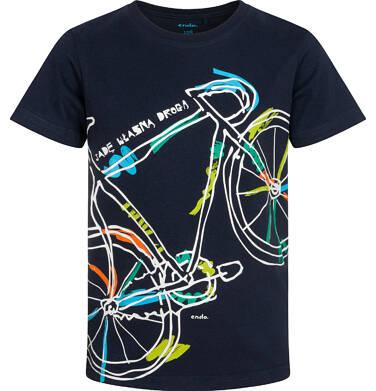 Endo - T-shirt z krótkim rękawem dla chłopca, z rowerem, granatowy, 2-8 lat C05G187_1,2