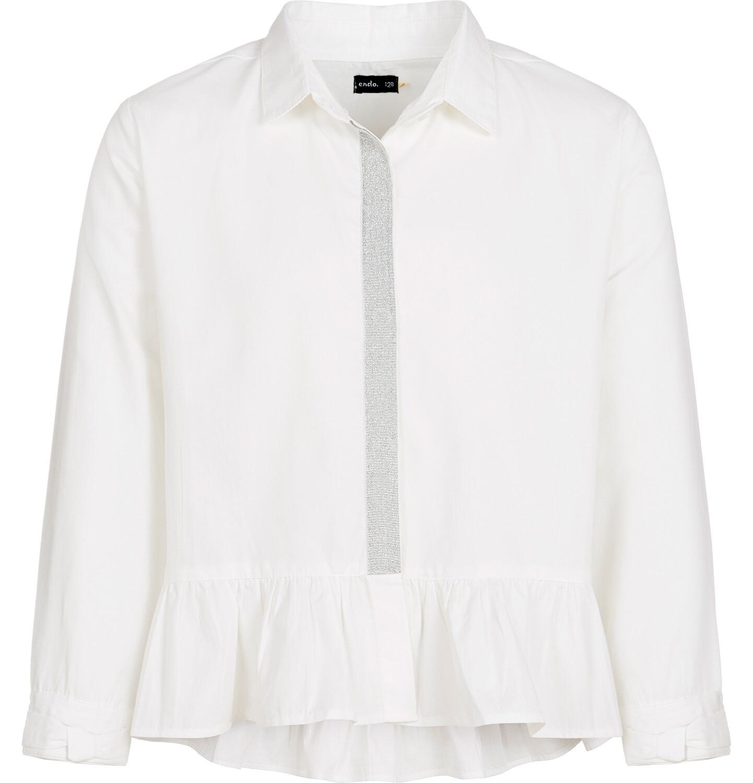 Endo - Bluzka koszulowa z długim rękawem dla dziewczynki, biała, 3-8 lat D92F011_2