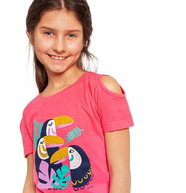 Endo - Bluzka z krótkim rękawem dla dziewczynki, odsłonięte ramiona, z tukanem, różowa, 2-8 lat D03G056_1