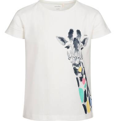 Endo - T-shirt z krótkim rękawem dla dziewczynki, z żyrafą, kremowy, 2-8 lat D05G123_1 16