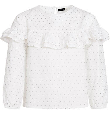 Endo - Koszula z długim rękawem dla dziewczynki, z falbanką, biała, 3-8 lat D92F002_1 14