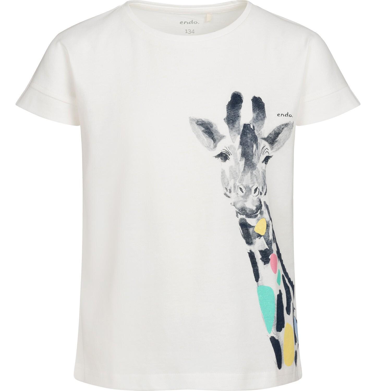 Endo - T-shirt z krótkim rękawem dla dziewczynki, z żyrafą, kremowy, 9-13 lat D05G124_1