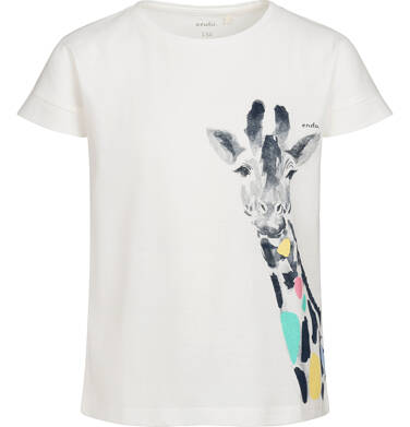 Endo - T-shirt z krótkim rękawem dla dziewczynki, z żyrafą, kremowy, 9-13 lat D05G124_1 10