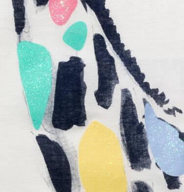Endo - T-shirt z krótkim rękawem dla dziewczynki, z żyrafą, kremowy, 9-13 lat D05G124_1,2