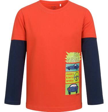 Endo - T-shirt z długim rękawem dla chłopca, z samochodami, czerwony, 2-8 lat C04G192_1 32
