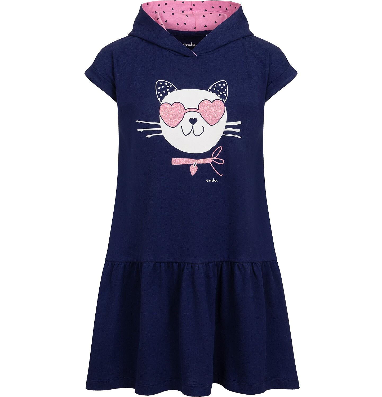 Endo - Sukienka z krótkim rekawem i kapturem, z kotem w okularach-sercach, granatowa, 2-8 lat D05H063_1