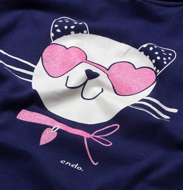Endo - Sukienka z krótkim rekawem i kapturem, z kotem w okularach-sercach, granatowa, 2-8 lat D05H063_1,2
