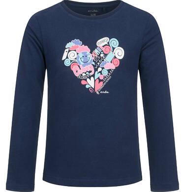 Endo - Bluzka z długim rękawem dla dziewczynki, z sercem, granatowa, 6-8 lat D03G183_1 43