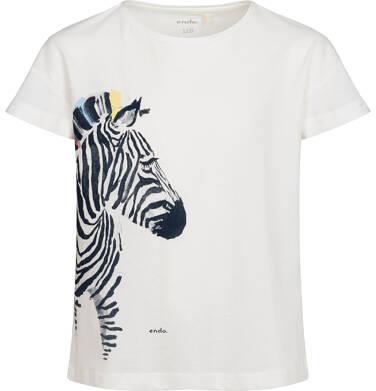 Endo - T-shirt z krótkim rękawem dla dziewczynki, z zebrą, kremowy, 2-8 lat D05G125_1 15