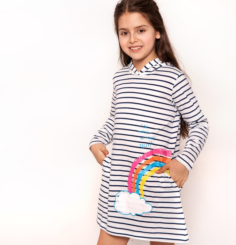 Endo - Sukienka z kapturem dla dziewczynki 3-8 lat D91H002_1