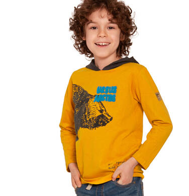 Endo - Koszulka z długim rękawem i kapturem dla chłopca, nie wywołuj misia z lasu, ciemnomusztardowa, 3-8 lat C92G049_1