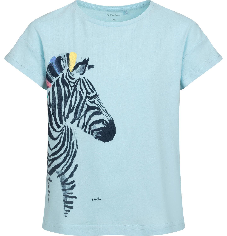 Endo - T-shirt z krótkim rękawem dla dziewczynki, z zebrą, niebieski, 2-8 lat D05G125_2