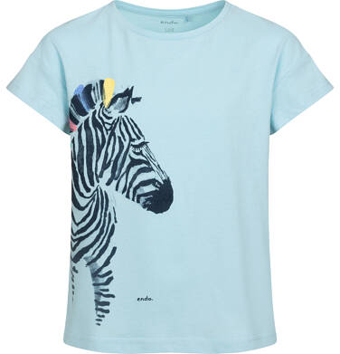 Endo - T-shirt z krótkim rękawem dla dziewczynki, z zebrą, niebieski, 2-8 lat D05G125_2 14