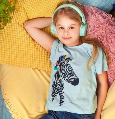 Endo - T-shirt z krótkim rękawem dla dziewczynki, z zebrą, niebieski, 2-8 lat D05G125_2,2
