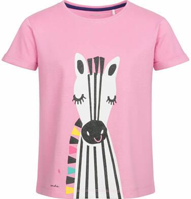 Endo - Bluzka z krótkim rękawem dla dziewczynki, z zebrą, różowa, 2-8 lat D03G058_1
