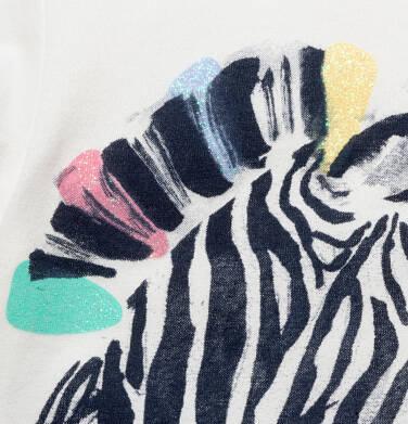 Endo - T-shirt z krótkim rękawem dla dziewczynki, z zebrą, kremowy, 9-13 lat D05G126_1,2