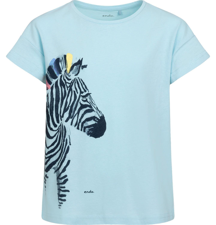 Endo - T-shirt z krótkim rękawem dla dziewczynki, z zebrą, niebieski, 9-13 lat D05G126_2