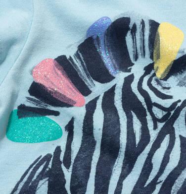 Endo - T-shirt z krótkim rękawem dla dziewczynki, z zebrą, niebieski, 9-13 lat D05G126_2,2