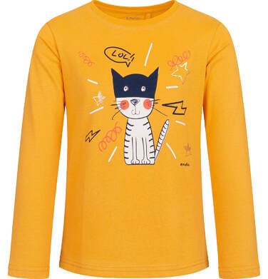Endo - Bluzka z długim rękawem dla dziewczynki, z kotem, żółta, 2-8 lat D03G193_2 42