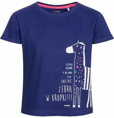 Bluzka z krótkim rękawem dla dziewczynki, z zebrą w kropki, granatowa, 9-13 lat D03G562_1
