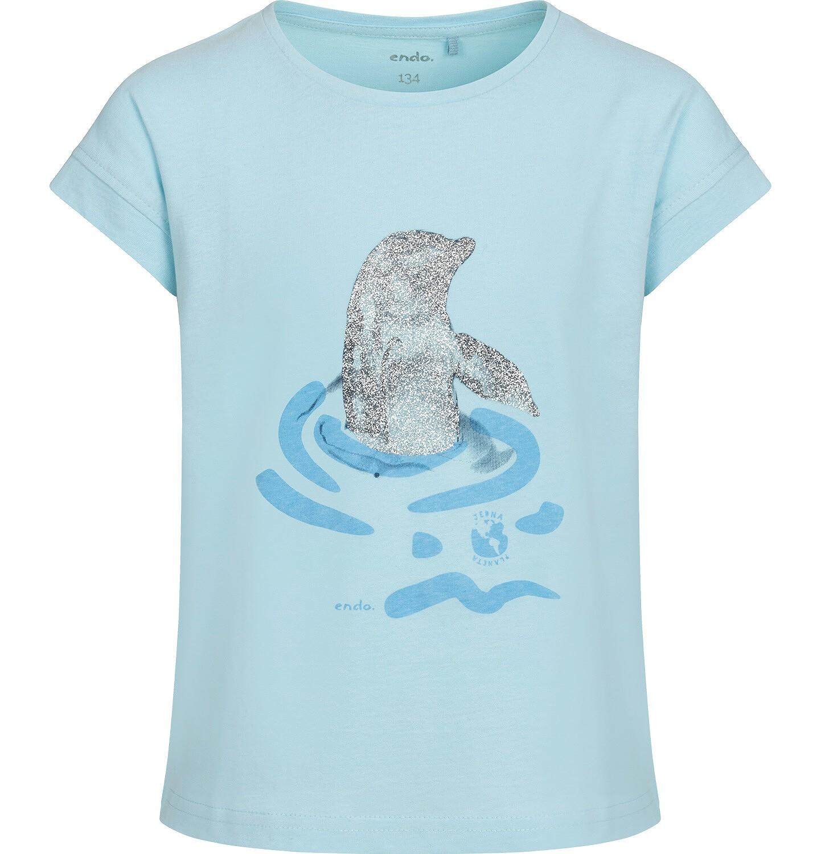 Endo - T-shirt z krótkim rękawem dla dziewczynki, z delfinem, niebieski, 9-13 lat D05G128_1