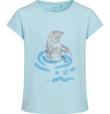 T-shirt z krótkim rękawem dla dziewczynki, z delfinem, niebieski, 9-13 lat D05G128_1