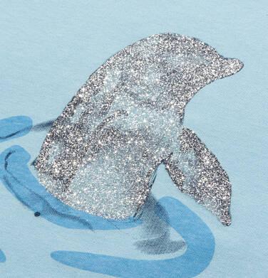 Endo - T-shirt z krótkim rękawem dla dziewczynki, z delfinem, niebieski, 9-13 lat D05G128_1,2