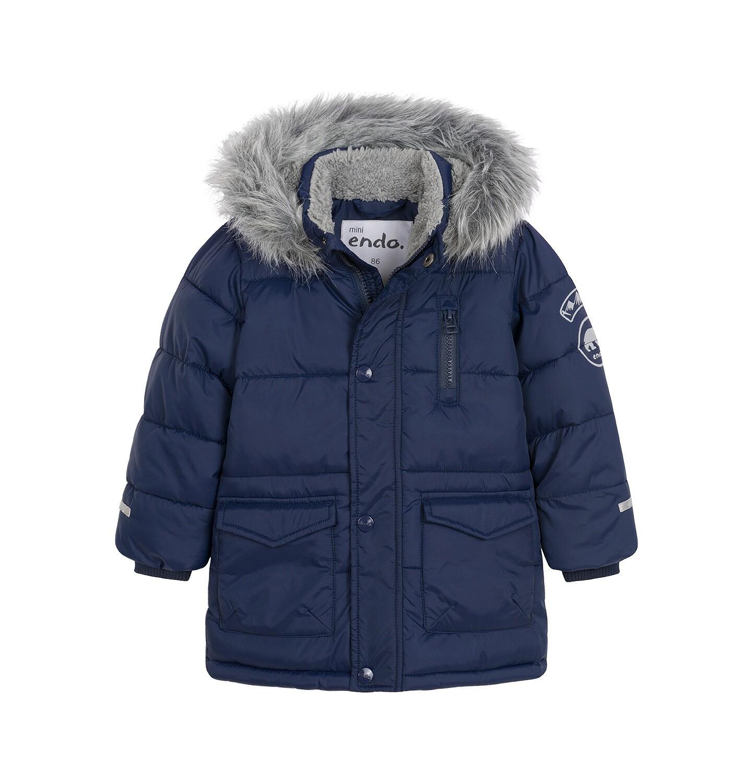 Endo - Zimowa kurtka dla małego dziecka, długa, ciemogranatowa, z futrzanym kapturem N92A026_1