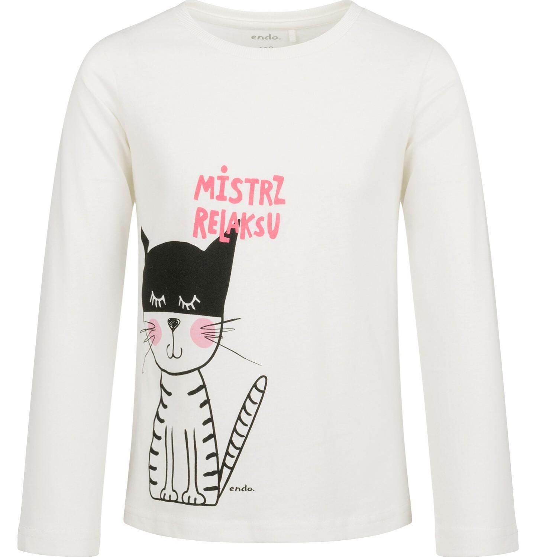 Endo - Bluzka z długim rękawem dla dziewczynki, z kotem, kremowa, 2-8 lat D03G197_1