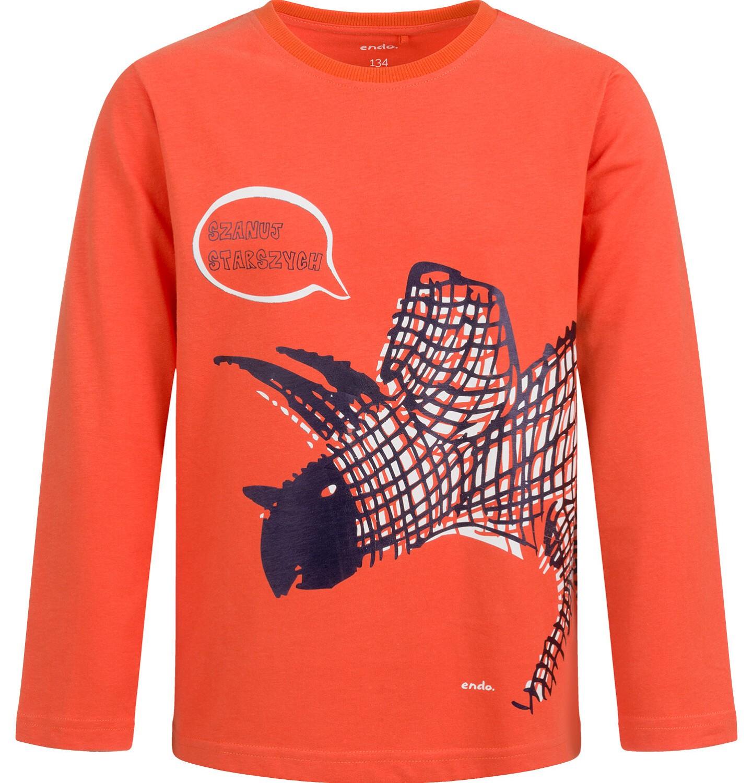 Endo - T-shirt dla chłopca z długim rękawem, z dinozaurem, pomarańczowy, 9-13 lat C04G149_1
