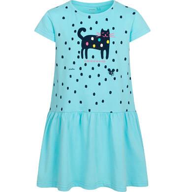 Dżersejowa sukienka z krótkim rękawem, z kotem, niebieska, 9-13 lat D05H062_1