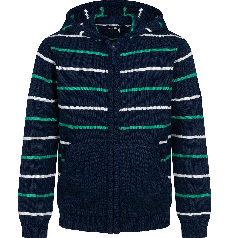 Endo - Sweter dla chłopca, z kapturem, w paski, granatowy, 9-13 lat C04B028_1