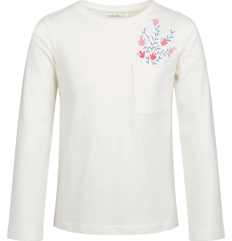 Endo - Bluzka z długim rękawem dla dziewczynki, z kieszonką, porcelanowa, 6-8 lat D03G198_1