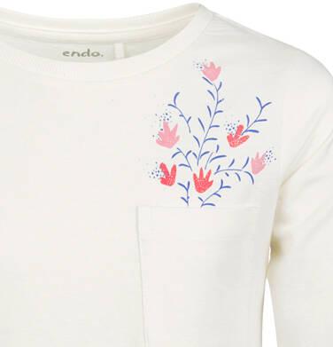Endo - Bluzka z długim rękawem dla dziewczynki, z kieszonką, porcelanowa, 6-8 lat D03G198_1,2