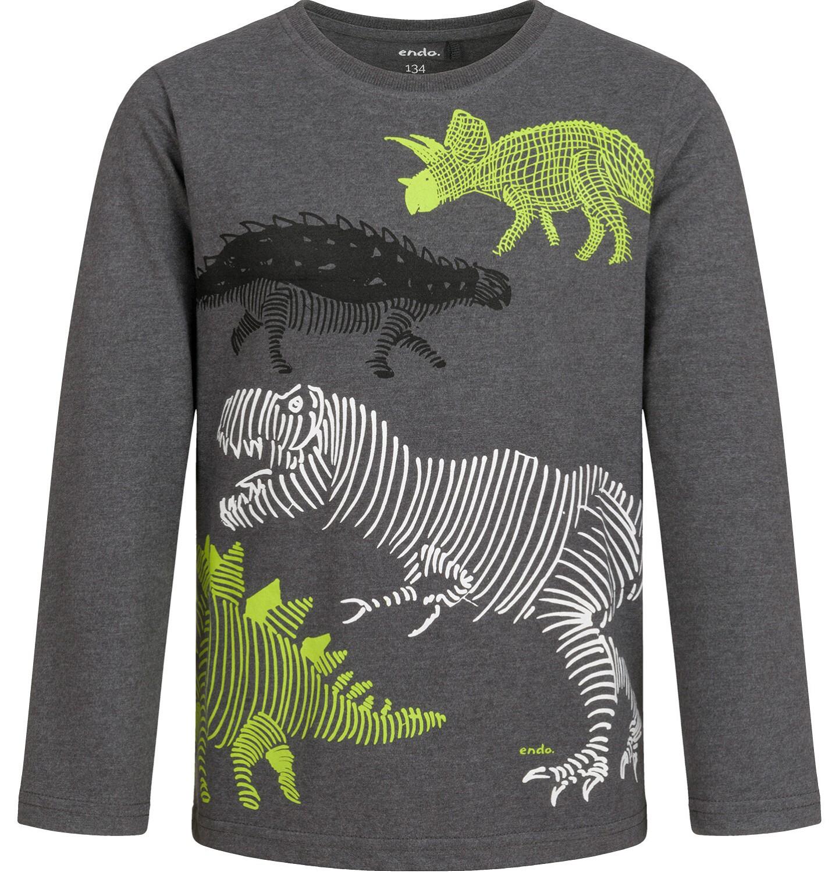 Endo - T-shirt dla chłopca z długim rękawem, z dinozaurem, szary, 9-13 lat C04G150_1