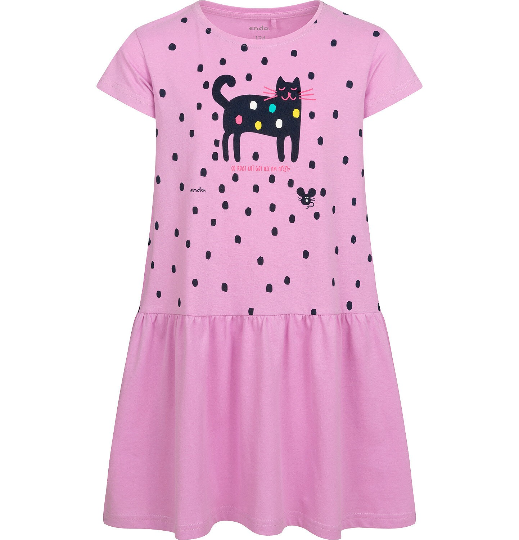 Endo - Dżersejowa sukienka z krótkim rękawem, z kotem, różowa, 9-13 lat D05H062_2