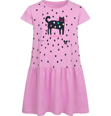 Dżersejowa sukienka z krótkim rękawem, z kotem, różowa, 9-13 lat D05H062_2