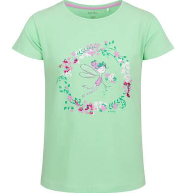 Endo - Bluzka z krótkim rękawem dla dziewczynki, kwiatowy motyw, zielona, 9-13 lat D03G587_1 122