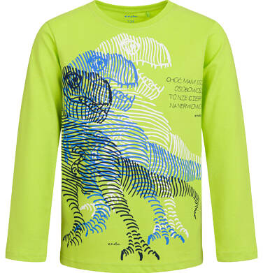T-shirt dla chłopca z długim rękawem, z dinozaurem, limonkowy, 9-13 lat C04G153_2