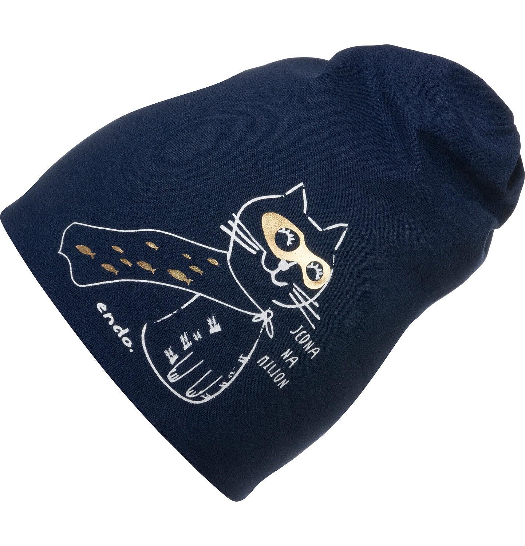 Endo - Czapka wiosenna dla dziecka, z kotem bohaterem, granatowa D05R002_1