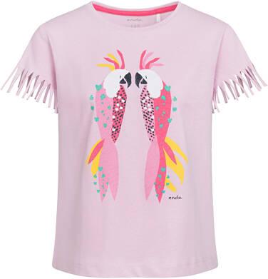Bluzka z krótkim rękawem i frędzlami dla dziewczynki, kolorowe papugi, 9-13 lat D03G564_1