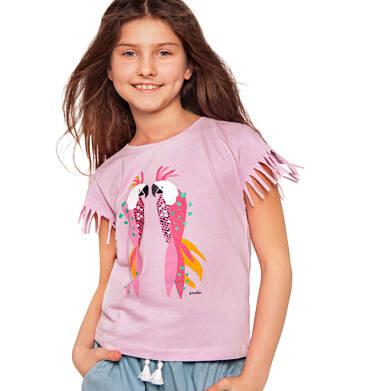 Endo - Bluzka z krótkim rękawem i frędzlami dla dziewczynki, kolorowe papugi, 9-13 lat D03G564_1