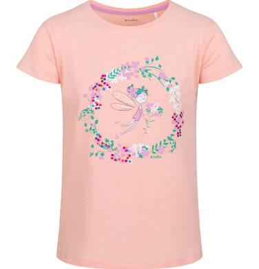 Endo - Bluzka z krótkim rękawem dla dziewczynki, kwiatowy motyw, pomarańczowy, 2-8 lat D03G087_2