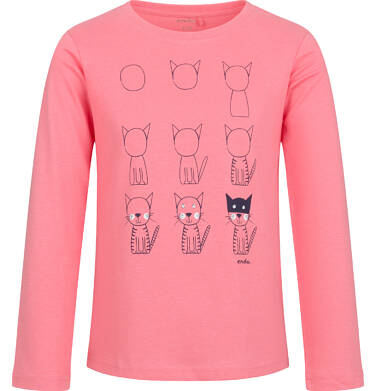 Endo - Bluzka z długim rękawem dla dziewczynki, w koty, różowa, 2-5 lat D03G203_1 157