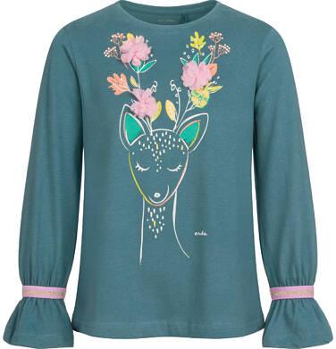 Endo - Bluzka z długim rękawem dla dziewczynki, kwiatowy motyw, zielona, 2-8 lat D04G067_1 20