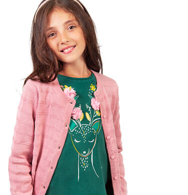 Endo - Bluzka z długim rękawem dla dziewczynki, kwiatowy motyw, zielona, 2-8 lat D04G067_1 223