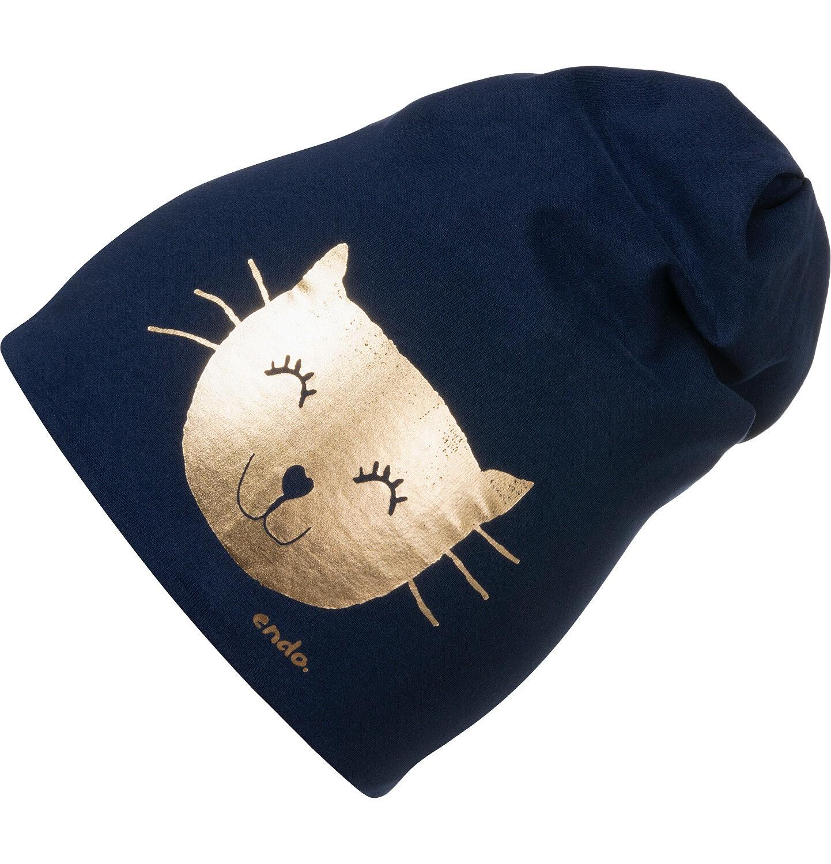 Endo - Czapka wiosenna dla dziecka, ze złotym kotem, granatowa D05R007_1