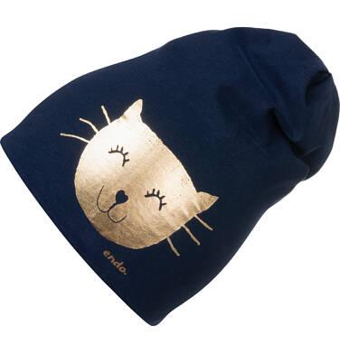 Endo - Czapka wiosenna dla dziecka, ze złotym kotem, granatowa D05R007_1,1